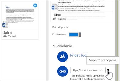 Snímka obrazovky svypnutím prepojenia na table spodrobnosťami na ukončenie zdieľania danej položky