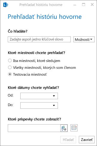 Snímka obrazovky s dialógovým oknom prehľadávania histórie hovorne