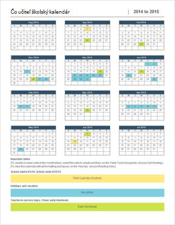 Šablóna kalendára