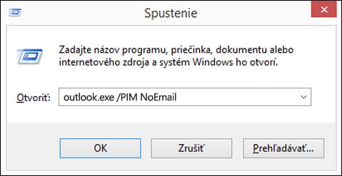 Použitie dialógového okna spustiť na vytvorenie profilu bez e-mailu