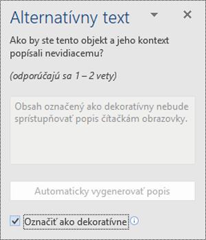 Tabla alternatívny text s vybratou možnosťou označiť ako dekoratívna vo Worde pre Windows.