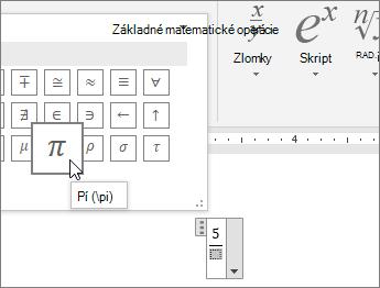 Výber symbolu (pí) pre zástupný objekt v štruktúre rovnice