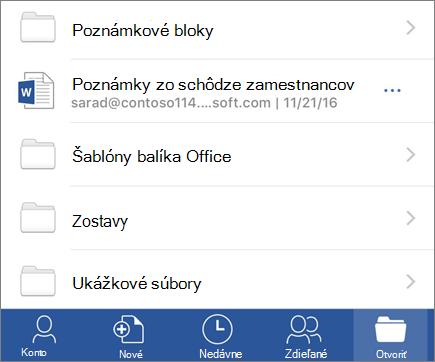 Otvorenie dokumentov v aplikácii Word mobile pre iOS