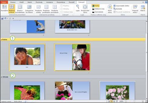 Používanie sekcií na oddelenie rôznych typov obsahu