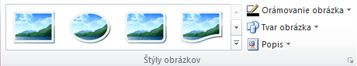 Skupina Štýly obrázkov na karte Nástroje obrázka v programe Publisher 2010
