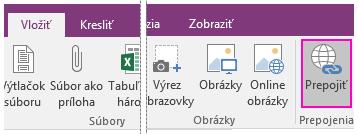 Snímka obrazovky s tlačidlom vložiť prepojenia vo OneNote 2016.