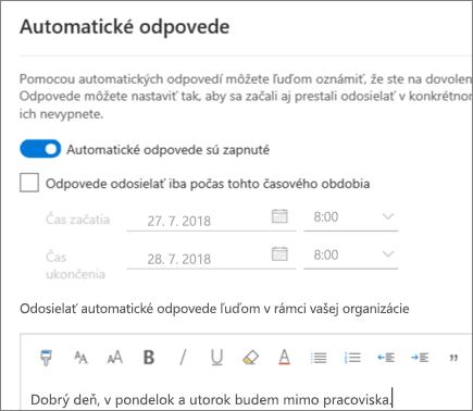 Vytvorenie odpovede Mimo pracoviska v Outlooku na webe