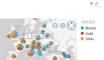 Použitie farby vo vizualizáciách máp Power View
