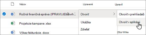 Možnosť otvoriť > otvoriť v ponuke aplikácie vybratá pre wordový súbor na portáli OneDrive online
