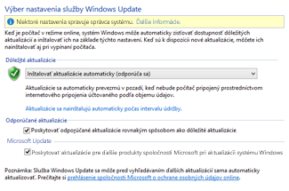 Nastavenia Windows Update v ovládacom paneli vo Windowse 8
