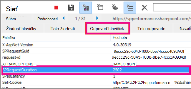 Snímka obrazovky zobrazujúca trvanie požiadavky 2502 ms