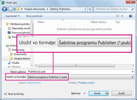 Uloženie publikácie ako šablóny na budúce použitie.