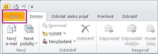 V Outlooku 2010 vyberte kartu Súbor.