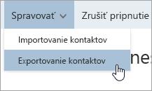 Snímka obrazovky s možnosťou Exportovať kontakty v ponuke Správa
