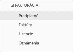 Snímka obrazovky sponukou Fakturácia vCentre spravovania služieb Office 365 svybratou položkou Predplatné.
