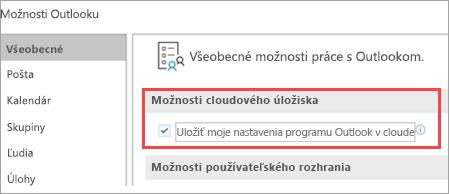 Zobrazuje možnosti nastavenia Outlooku