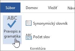 Tlačidlo kontroly pravopisu agramatiky na páse snástrojmi Revízia