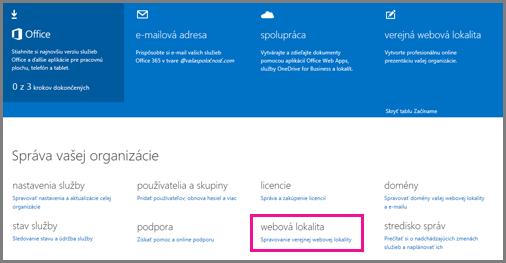 Stránka Správca so zobrazenou položkou Správa verejnej webovej lokality