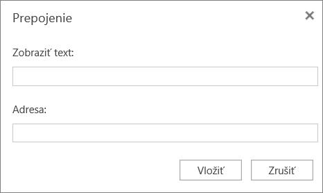 Snímka obrazovky s dialógovým oknom Prepojenie, v ktorom môžete zadať zobrazovaný text a informácie o adrese hypertextových prepojení.