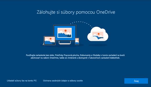 Snímka obrazovky stránky OneDrivu, ktorá sa zobrazí pri prvom použití Windowsu 10