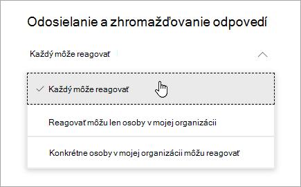 Možnosti zdieľania pre služby Microsoft Forms