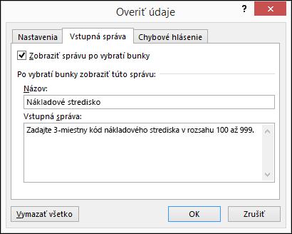 Nastavenia vstupnej správy vdialógovom okne Overenie údajov