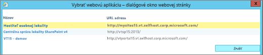 Výber webovej aplikácie na stránke Zmeniť webovú aplikáciu