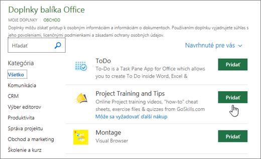Snímka obrazovky stránky doplnkov Office obchodu, kde si môžete vybrať alebo vyhľadať add-in pre projekt.