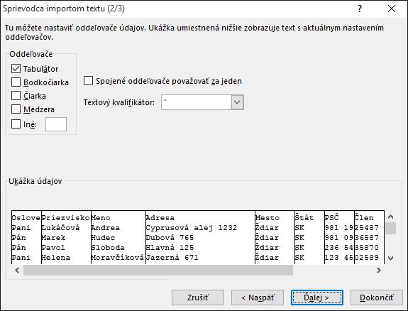 VSprievodcovi importom textu sú zvýraznené možnosti oddeľovačov.
