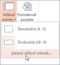 Kliknutie na možnosť Vlastná veľkosť snímok