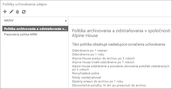 Nová politika uchovávania údajov a zoznam prepojených značiek uchovávania údajov