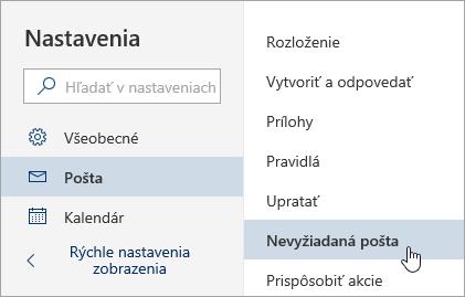 Snímka obrazovky s vybranou ponukou nastavení pre nevyžiadanú poštu
