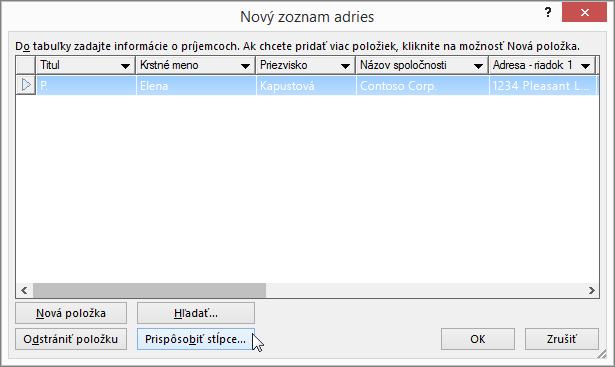 Ak chcete pridať vlastné stĺpce do poštového zoznamu, kliknite na tlačidlo Prispôsobiť stĺpce.