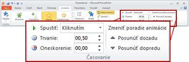Skupina časovanie na karte animácie na páse s nástrojmi programu PowerPoint 2010.