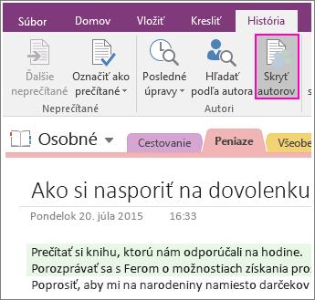 Snímka obrazovky stlačidlom Skryť autorov vo OneNote 2016.