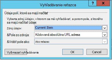 Vloženie hypertextového prepojenia pre aktuálnu položku 1