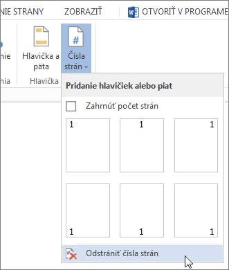 Obrázok príkazu Odstrániť čísla strán vybratého vgalérii Čísla strán