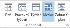 Skupina Usporiadať na karte Domov: deň, týždeň, pracovný týždeň, mesiac ačasový plán