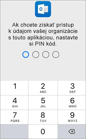 Nastavenie PIN kódu na prístup k údajom organizácie