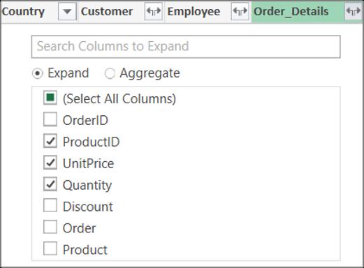 Rozbalenie prepojenia na tabuľku Podrobnosti_objednávky