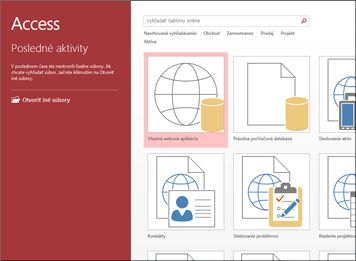 Úvodná obrazovka Accessu s vyhľadávacím poľom šablóny a tlačidlami Vlastná webová aplikácia a Prázdna počítačová databáza.