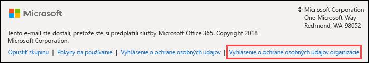 Office 365 skupiny hosťujúcich uvítaciu správu päta