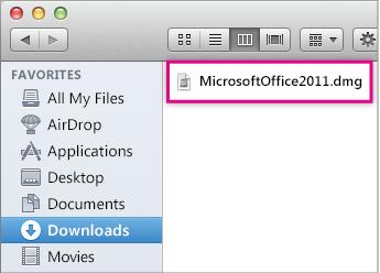 Obrázok súboru .dmg. Dvojitým kliknutím na tento súbor otvoríte inštalátor balíka Office.
