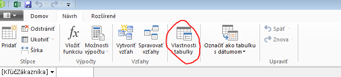 Ribbon in PowerPivot window showing Table Properties command