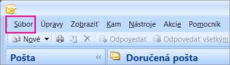 V Outlooku 2007 vyberte kartu Súbor.