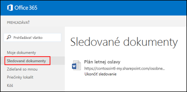 Snímka obrazovky dokumentov uložených vo OneDrive for Business, ktoré sledujete vslužbách Office 365.