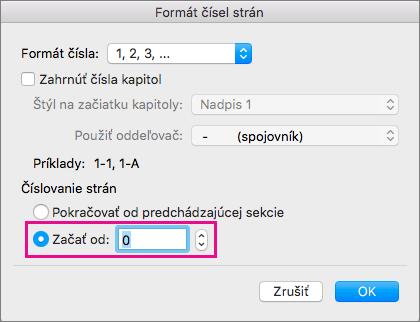 Začiatočné číslo strany nastavíte výberom položky Začať od a následným zadaním čísla.