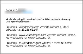 Na lokalite Wix.com použite tieto nastavenia DNS záznamu