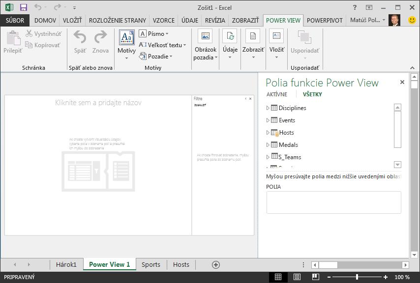 Prázdna zostava Power View v Exceli