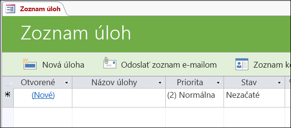 Formulár Zoznam úloh v šablóne databázy Access Úlohy